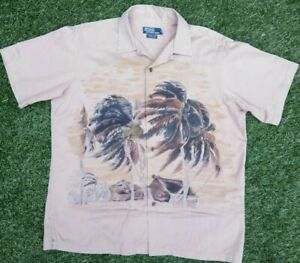 Polo-By-Ralph-Lauren-Mens-Vintage-Camp-Hawaiian-Shirt-Tan-Palm-Trees-Size-Large
