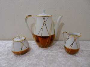 DDR Rockabilly Design Ilmenau Porzellan Kupfer Kaffeekern Vintage um 1950/60
