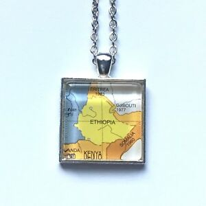 Details about ETHIOPIA SOMALIA DJIBOUTI ERITREA AFRICA Map Pendant necklace  ATLAS