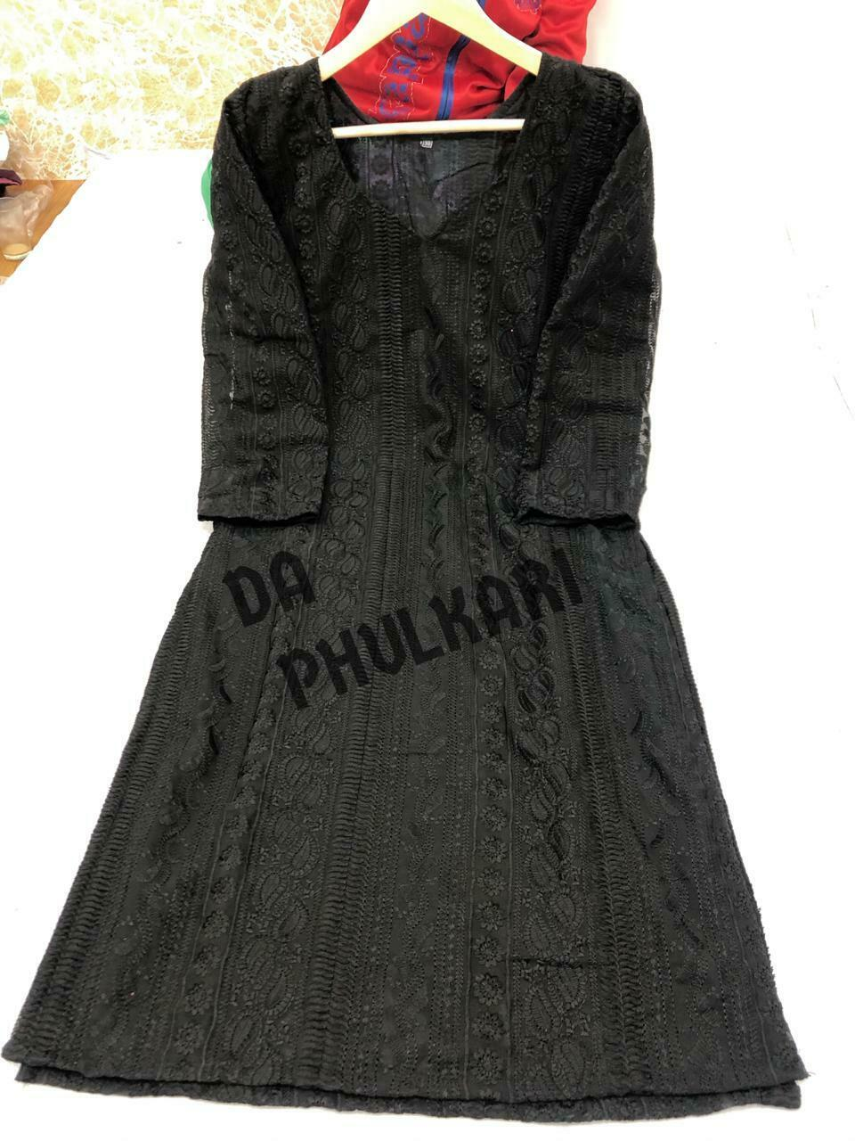 Lto xxl size Long georgette chikan kurtis with cotton lining inside
