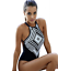 Ladies-Padded-Black-amp-White-Geometric-Halterneck-One-Piece-Swimsuit-Size-10-12 thumbnail 2