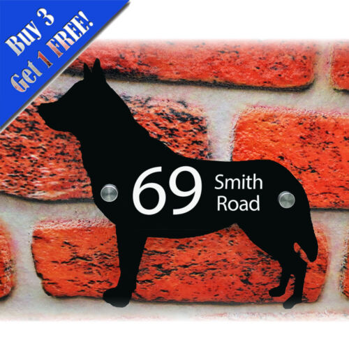 Personalised Modern Design Dog Shaped House Door Kennel Sign Glass Look Acrylic