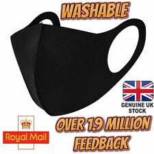 Face Mask Protective Covering Washable Reusable Black Adult Unisex UK Stock