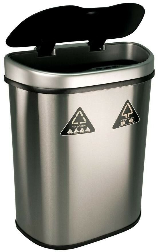 18.5 gal. Motion Sensor Recycling Bin Trash Can Container Auto Dual Compartment