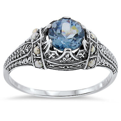 SIM AQUAMARINE SEED PEARL ANTIQUE DECO STYLE 925 SILVER FILIGREE RING SZ 7,#369
