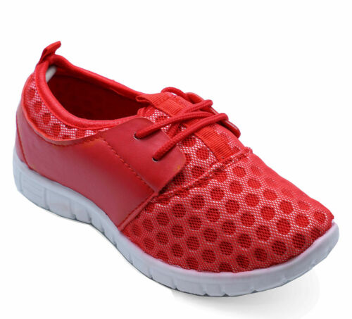 KIDS CHILDRENS RED SPORTS CASUAL LACE-UP INFANTS TRAINERS PLIMSOLLS SHOES 10-3