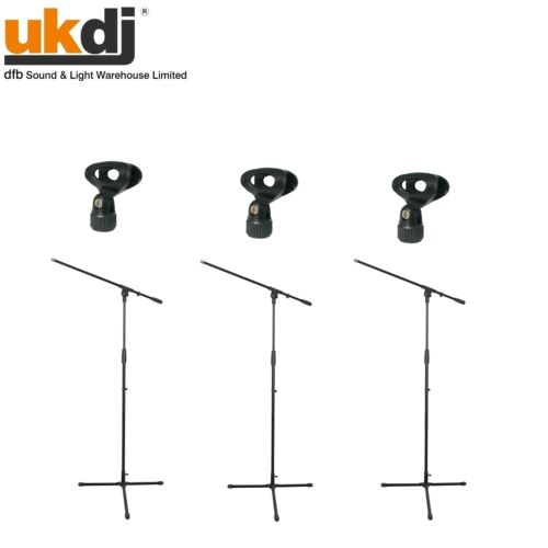 Black Microphone Stand Adjustable Boom Arm Bulk Package Wholesale inc Mic Clip