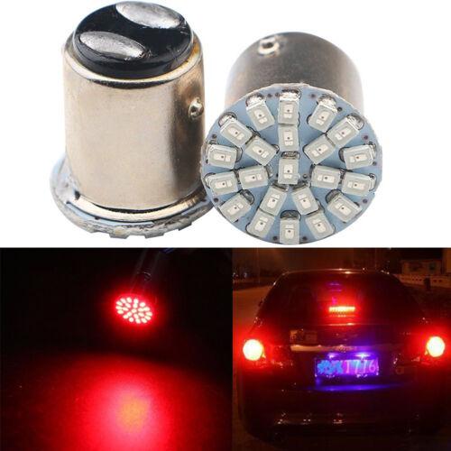 2x Red T25 1157 22 SMD LED Light Bulb Tail Break Stop Turn Signal Lights