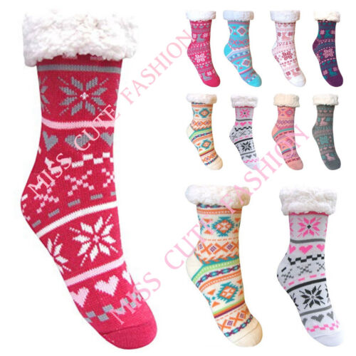 WOMEN LADIES 4.7 TOG THERMAL FLEECE SOCKS SHERPA LINING LOUNGE SLIPPER BED SOCKS