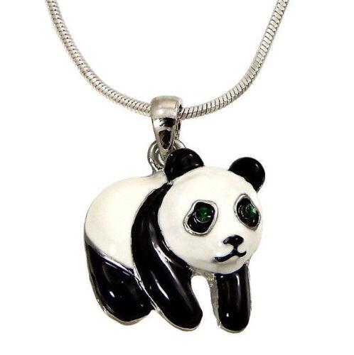 Silvertone  Little Panda Bear Pendant Necklace Enameled Fast Shipping