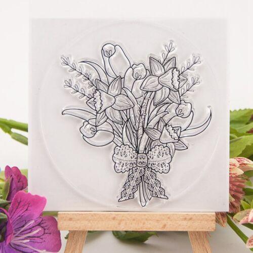 Blumenstrau klarer Stempelgummi haften Scrapbooking DIY GE