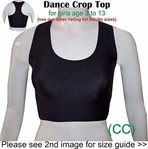 Dance-Crop-Top-Black-Girls-Childrens-Lycra-Gym-Ballet-Sports-Street-CC