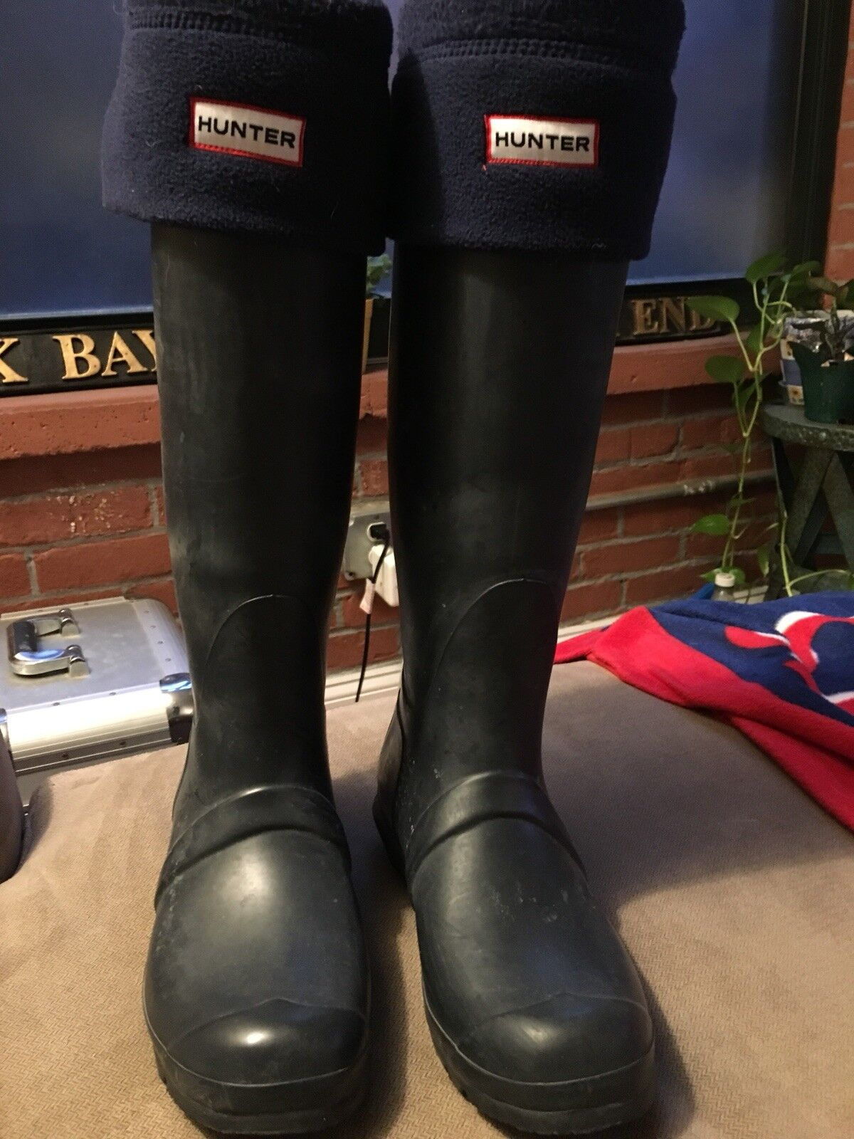 1710 Hunter Original Tall Navy  Rubber Rain Boots Womens Size 7 M