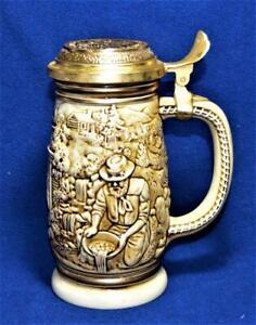 Vintage 1987 AVON Handcrafted in Brazil GOLD RUSH Lidded Beer Stein #153137