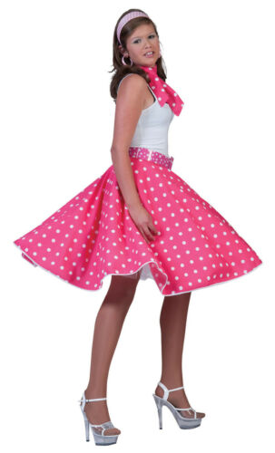 Donna Rosa Bianco Polka Gonna 1950s Costume Rock N Roll UK 10-14