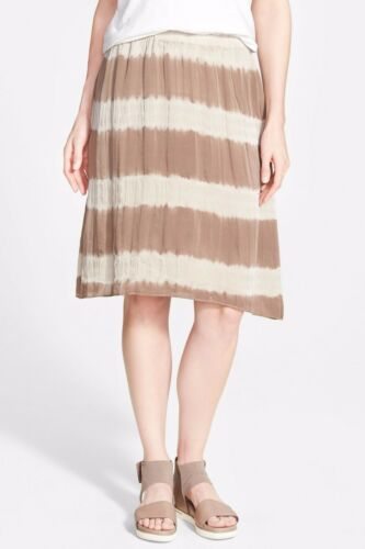 M L NWT Eileen Fisher Lantern Skirt Mocha Shibori Striped Silk $218 – S XL