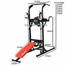 Multi-Function Chin-Up Station Power Tower VKR Sturdy Pull-Up Stand Dip Station