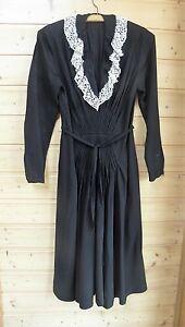 damen vintage kleid mit spitze gr 36 38 schwarz langarm. Black Bedroom Furniture Sets. Home Design Ideas
