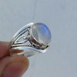 semiprecious ring natural rainbow moonstone ring silver ring handmade ring oval ring,oval shaped stone ring,gemstone ring,stacking ring