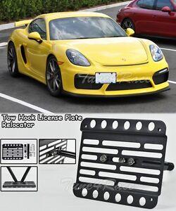 For 15-Up Porsche Cayman GT4 Tow Hook License Plate Relocator Mount Bracket