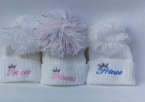 BABY BOYS GIRLS KNITTED POMPOM HATS NEWBORN 0-3 MONTHS BOBBLE CAP wool