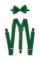Green Suspender and Bow Tie Set for Adults Men Women Teenagers (USA Seller)