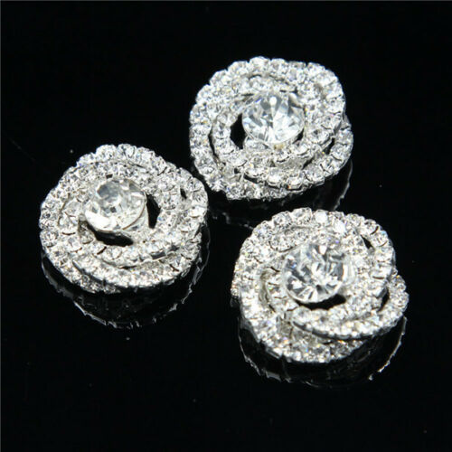 4 Pcs Stunning Crystal Glass Rhinestone Alloy Shank Buttons 22mm Sewing Craft