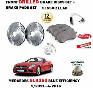 FOR MERCEDES SLK350 2011-> FRONT DRILLED BRAKE DISCS SET + PADS + SENSOR KIT