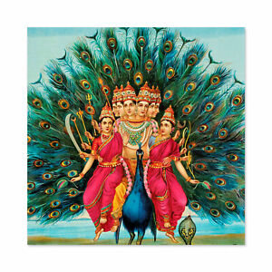 Varma-Hindu-God-Karttikeya-Vahana-Peacock-Painting-Large-Wall-Art-Print-Square