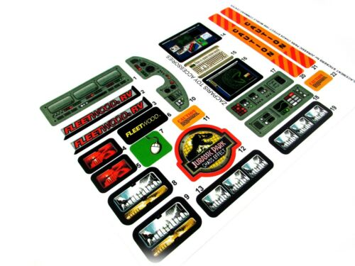JURASSIC PARK Chaos effect Electronic MOBILE COMMAND CENTER Replacement stickers