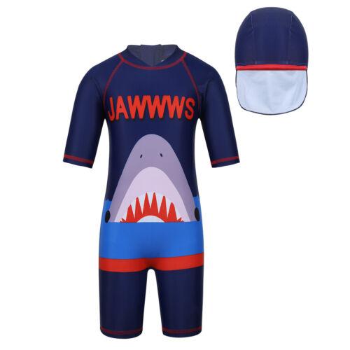 Kids Girls Boys Swimwear Rash Guard Sun Protection UV Swimsuit Bathing Suit+Cap