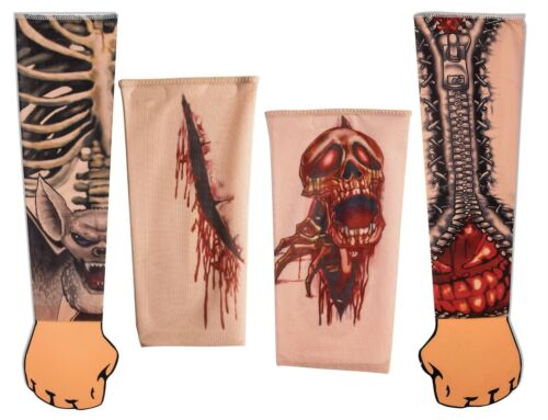 Tattoo Sleeve Scar Skull Zipper Bones Fancy Dress Accessory