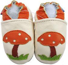 carozoo mushroom cream 4-5y soft sole leather kid shoes slippers