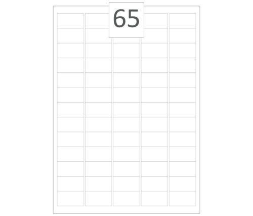 Matt or Gloss 65 A4 White Self Adhesive Labels Per Sheet Plain or Printed