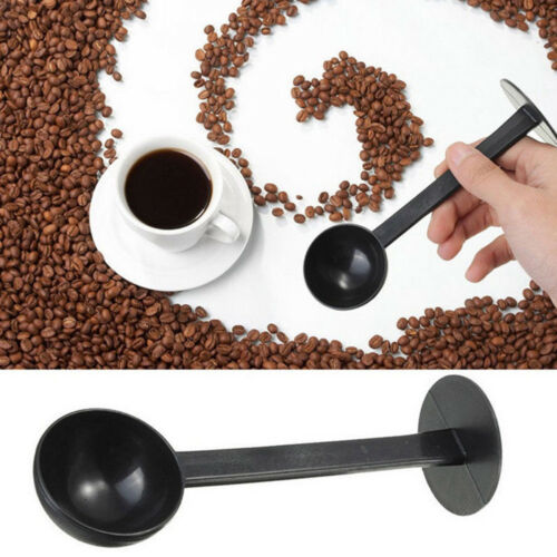 2 in 1 Measuring Coffee Scoop Spoon Tamping Black Espresso Stand Tamper-QY