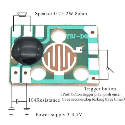 5Pcs sound module trigger dog barking music chip 3V voice module for DIY//toy   X