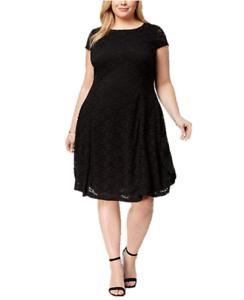 Alfani Plus Size Lace Fit Amp Flare Dress In Deep Black