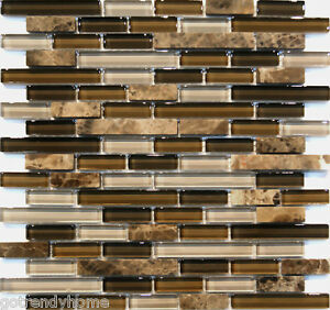 Sample Emperor Marble Brown Glass Blends Mosaic Tile Kitchen ...