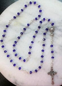First-Holy-Communion-Rosary-Hand-Made-w-Blue-amp-Clear-Glass-Crystals-Catholic