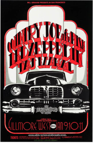 """Led Zeppelin,Country Joe and the Fish Fillmore West Concert Poster 13x19/"""" Photo"""