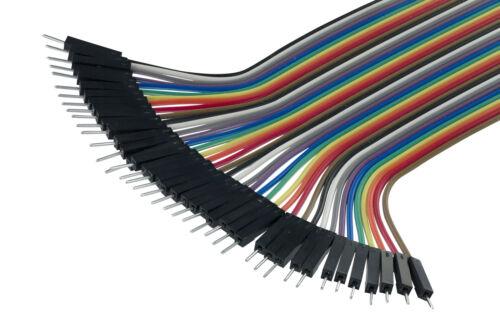 40pcs Dupont Male to Female Jumper Wire Câble Ruban Pi Pic Maquette Arduino