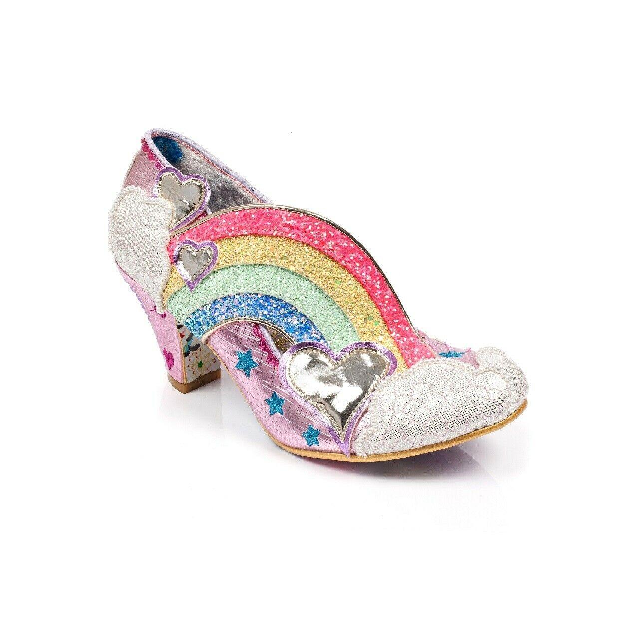 RARE Irregular Choice Pink Rainbow Heels Size 6