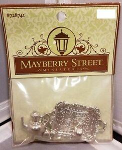Mayberry Street Miniatures 4 Pc Silver Tea Set Dollhouse Shadowbox
