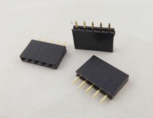 10pcs Pitch 1x 5 Pin 2.54mm Female Single Row Straight PCB Header Strip Socket