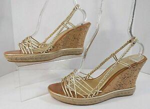 041affbbedd2 Cole Haan Womens Cork Heels Sz 11 M Strappy Platform Wedge Gold and ...