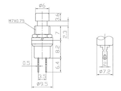 5 x Einbau Mini Micro Taster 1-polig Schließer BLAU BLUE 250VAC//1A 125VAC//3A