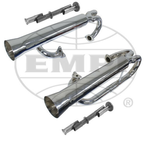 EMPI 3709  VW CHROME DUAL RACING EXHAUST SYSTEM W// INSERTS BAJA BUGGY