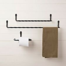 COMPLETE TWISTED WROUGHT IRON BATH SET   2 Towel Bars U0026 Toilet Paper Holder  USA