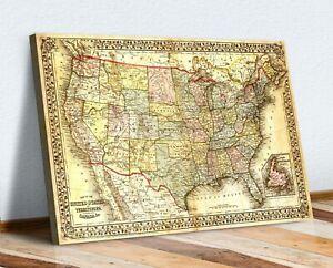 CANVAS WALL ART Vintage USA Map ARTWORK 30MM DEEP FRAMED PRINT