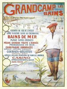 Viajes-Turismo-ad-Vintage-Grandcamp-les-Bains-Francia-impresion-de-arte-poster-HP1114